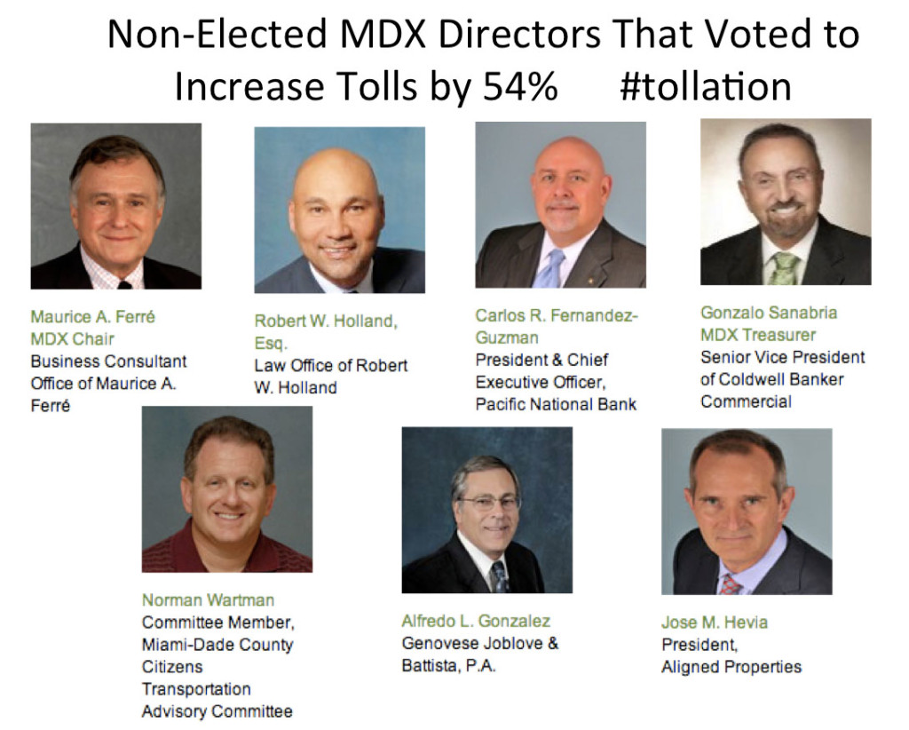 MDX directors that voted for 54% toll hike