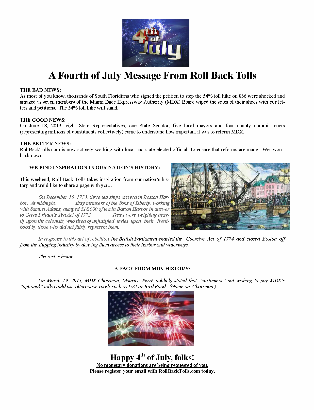 A Forth of July Message from Roll Back Tolls