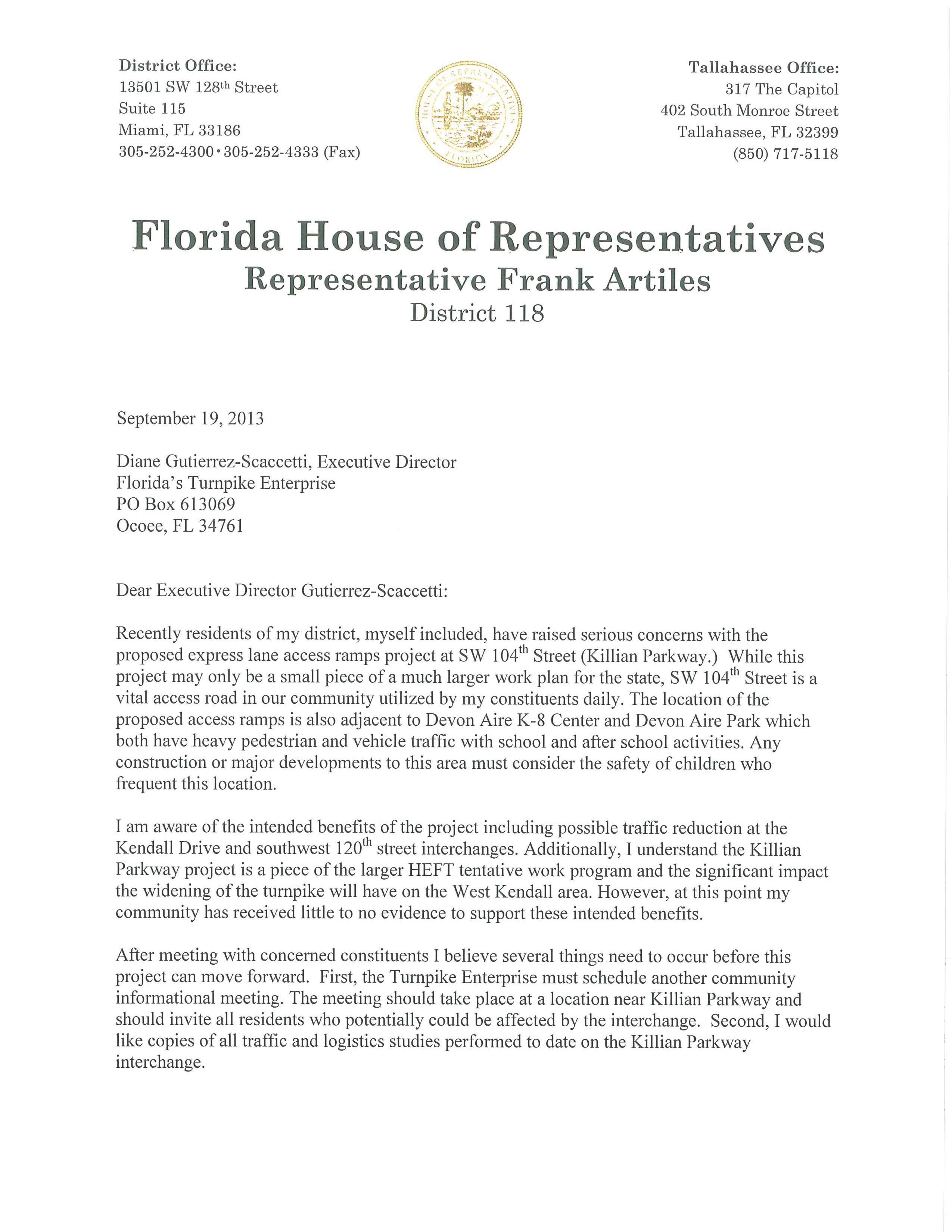 Florida Representative Frank Artiles letter to Florida Turnpike Enterprise and FDOT regarding Killian Parkway ramp
