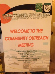 Florida Turnpike Enterprise sign at OCt. 3rd meeting in Kendall.