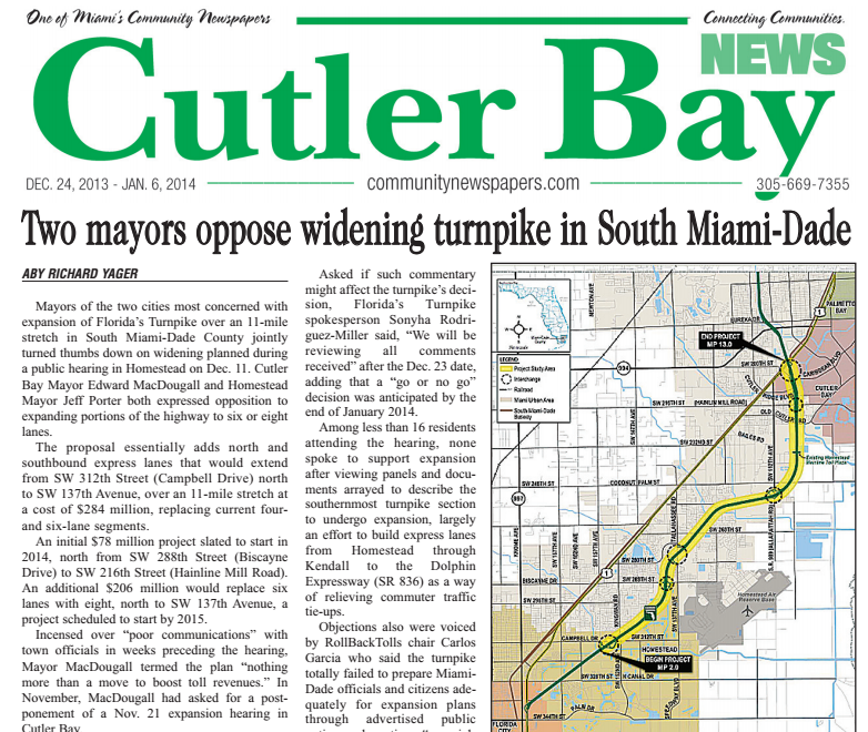 Cutler Bay News Article on Turnpike