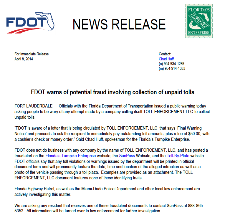 FDOT and SunPass warn of Toll Collection Scam
