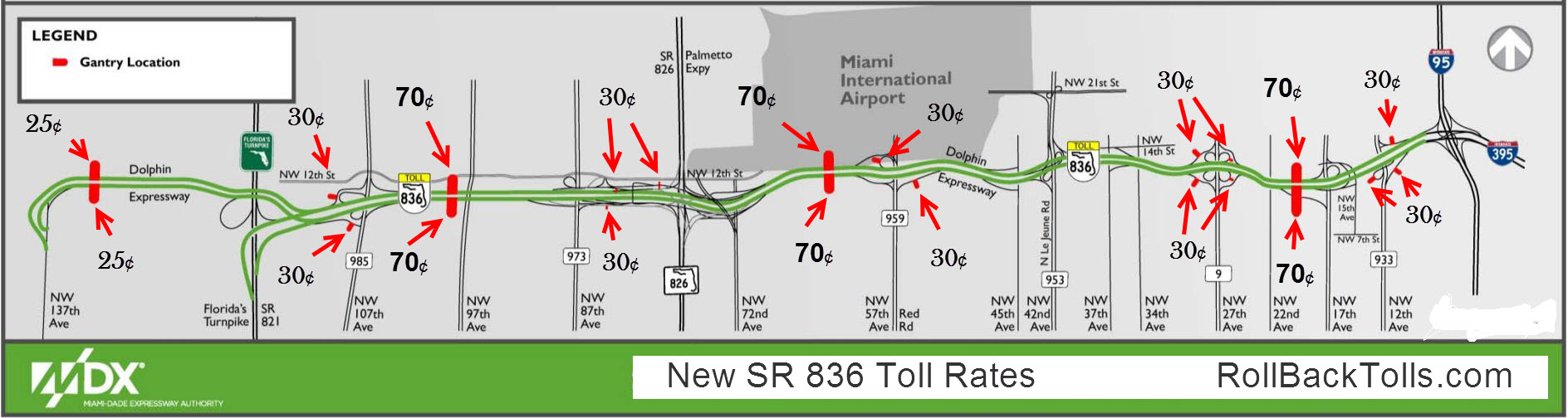 new SR 836 toll rates