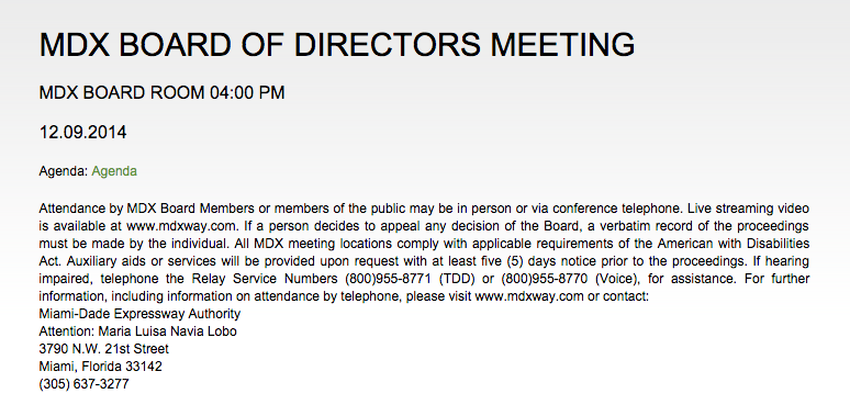 MDX board meeting Dec. 9th, 2014