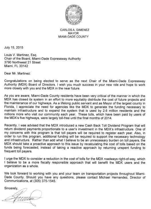 Mayor Carlos Gimenez letter to MDX asking them to reduce tolls
