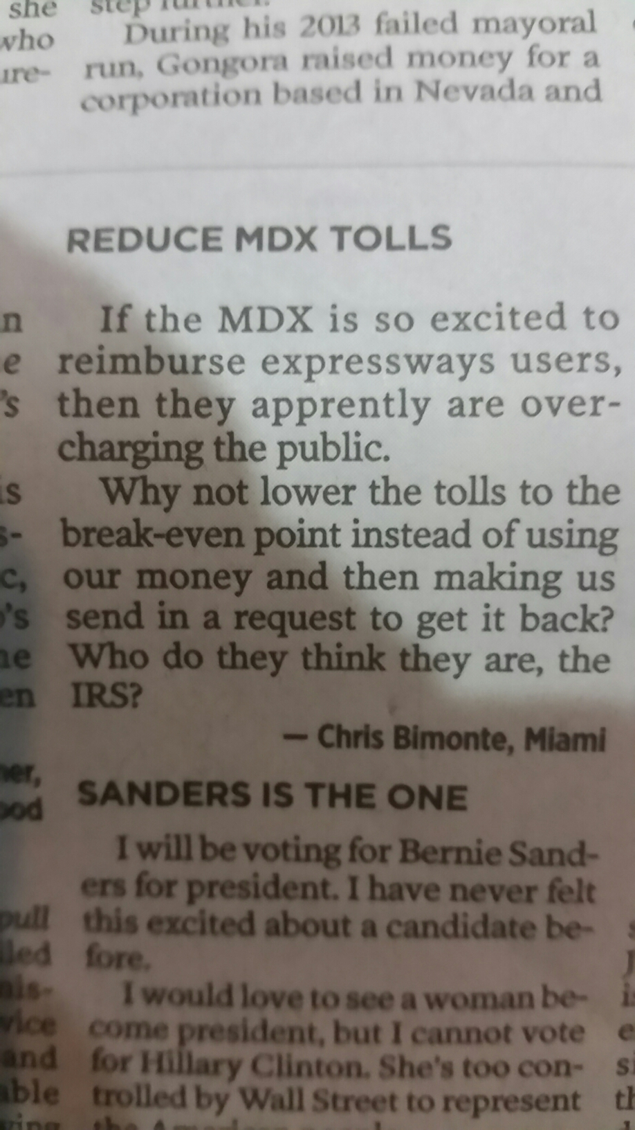 Miami Herald comment about MDX refund program