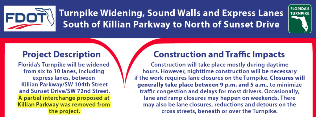 Turnpike notice about express lane construction in Kendall.